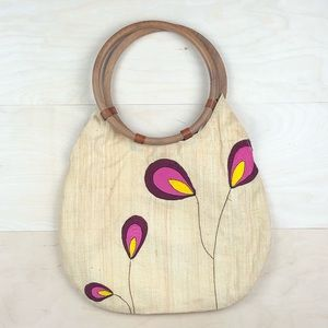 Mad Imports Embroidered Raffia Handbag